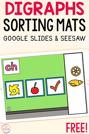 Digraphs sorting activity for fun online learning.