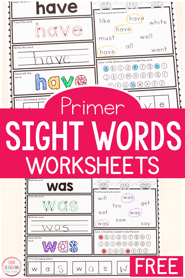 Free Printable Kindergarten Sight Word Worksheets