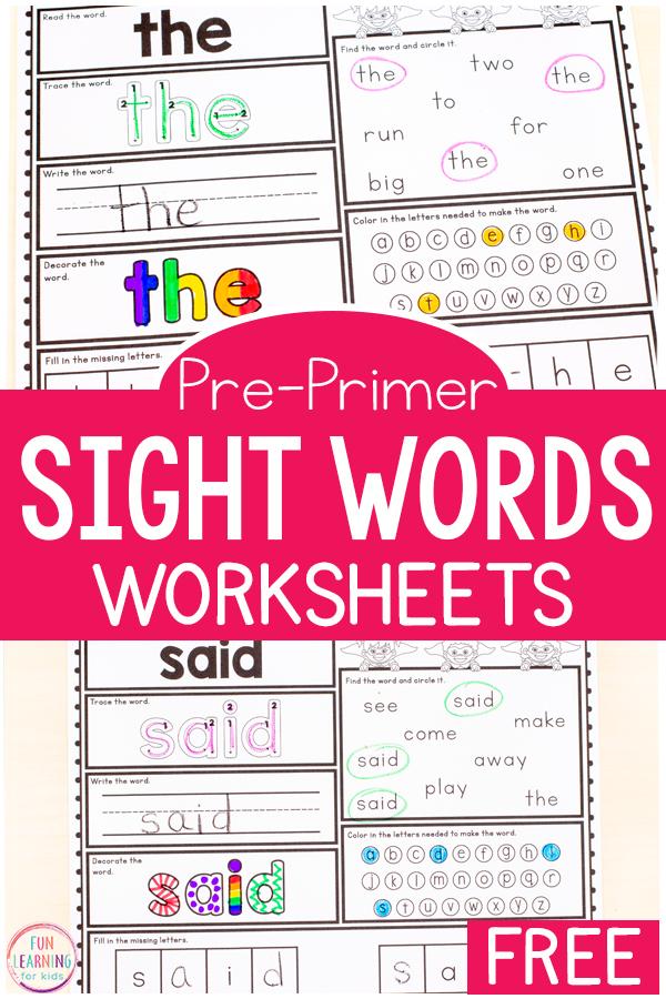 Free Printable Pre-K Sight Word Worksheets