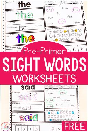 Pre-K sight word worksheets for the pre-primer level.