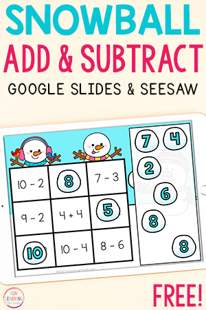 Free snow theme addition and subtraction activity for Google Slides and Seesaw.