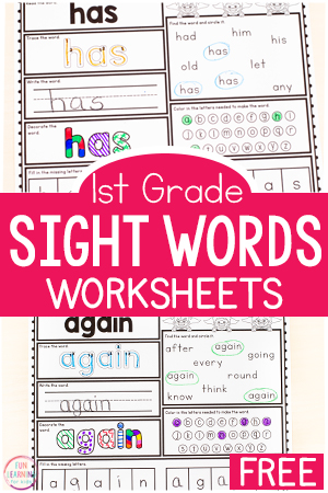 Free first grade sight word worksheets.