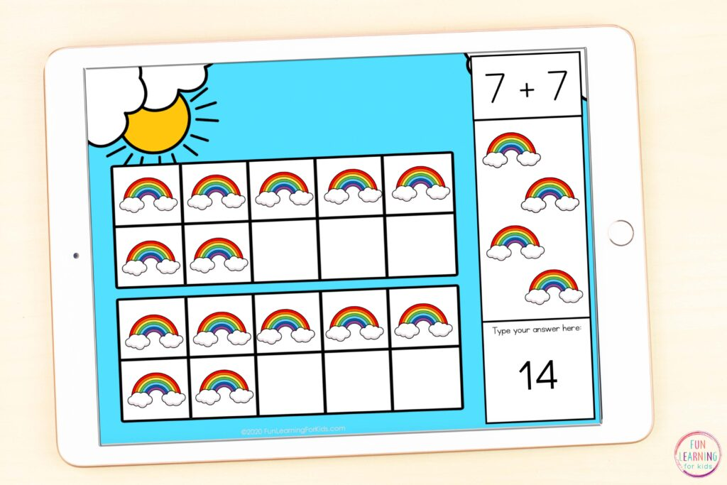 Free paperless rainbow addition to 20 activity for Google Slides and Seesaw.