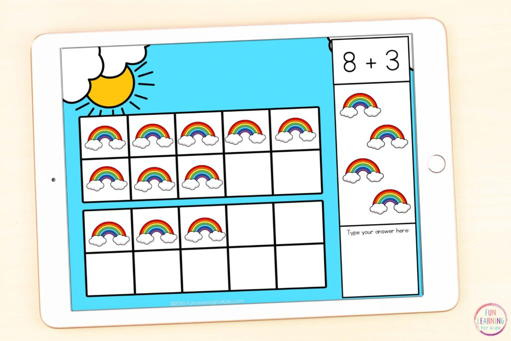 Free digital rainbow math activity for virtual learning while using Seesaw and Google Slides.
