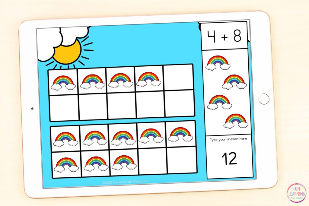 Digital rainbow math activity for learning addition within 20.