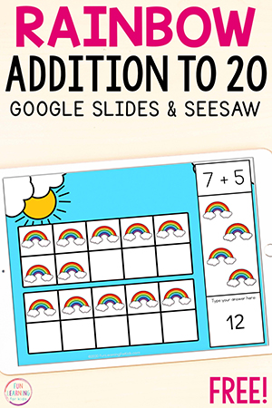 Rainbow math activity for learning to add within 20.