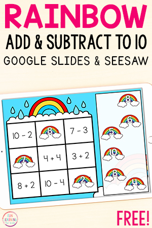 Rainbow addition and subtraction math activity for kindergarten and first grade.