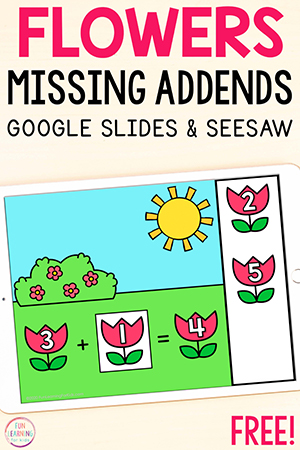 Flowers missing addends addition activity.