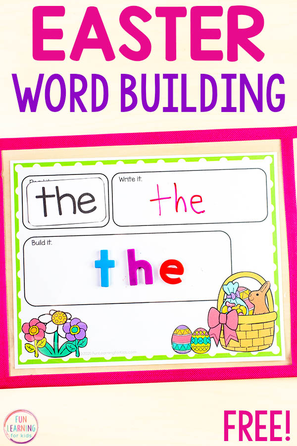 Free printable Easter sight word building mats.