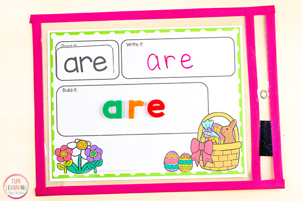 Printable Easter sight word activity mats.