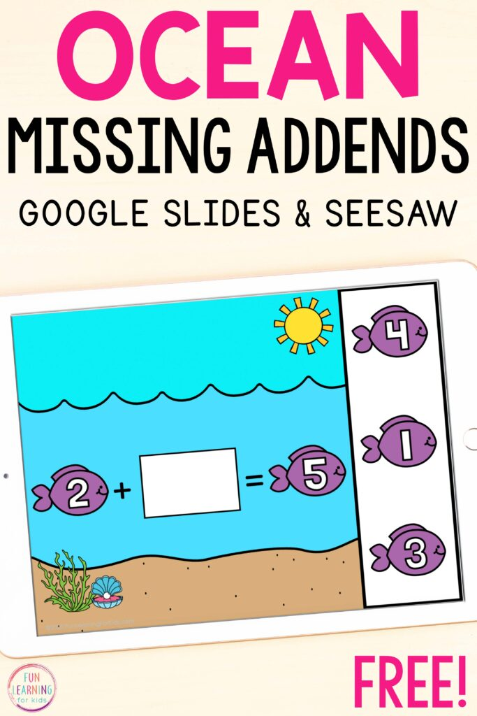 Free ocean missing addends activity for Seesaw and Google Slides.
