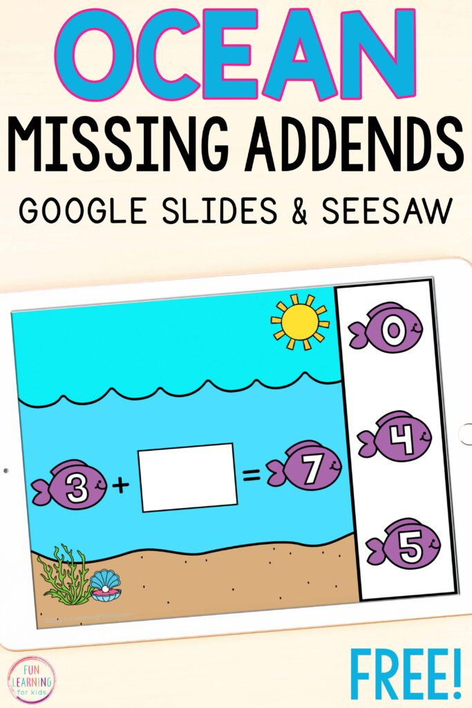Free digital ocean theme addition math activity for kindergarten and first grade.
