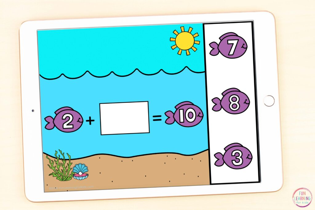 Free ocean theme missing addends addition math activity.