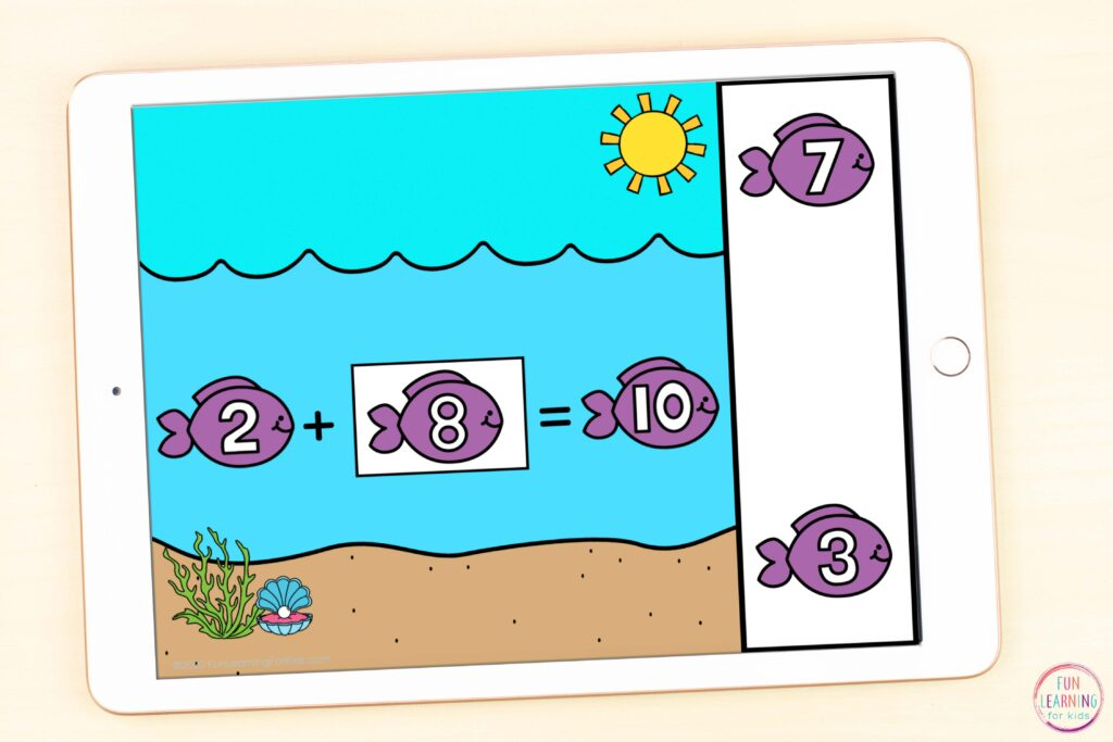 Free digital ocean theme missing addends activity for teaching math in elementary.