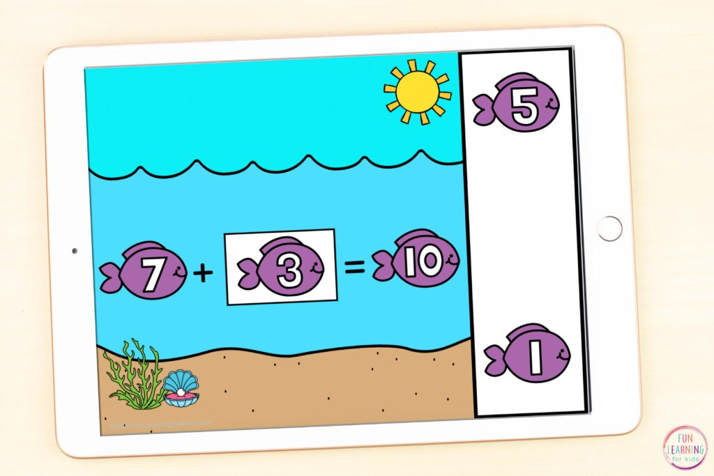 Paperless ocean theme missing addends addition activity.