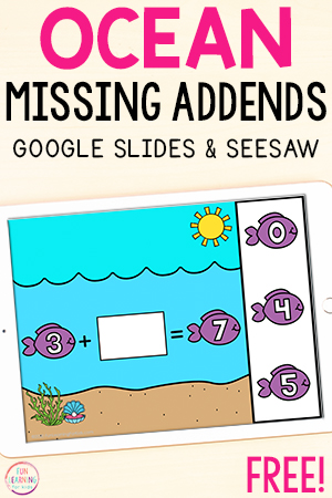 Ocean missing addends addition math activity.