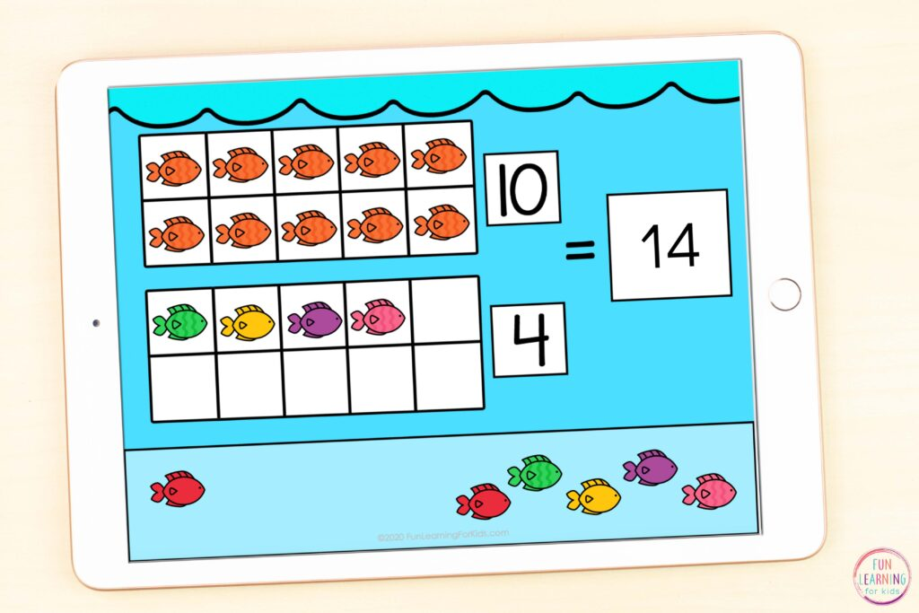 Free ocean theme digital math activity for learning teen numbers while using Seesaw and Google Slides.