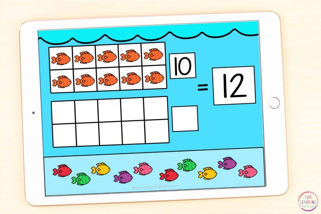 Ocean themed teen numbers math activity for kindergarten and first grade.