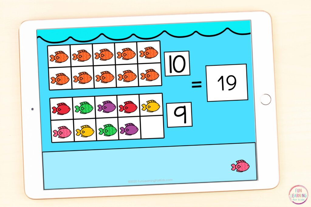 Free ocean theme teen numbers addition math activity.