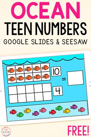 Ocean teen numbers addition activity.