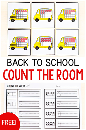 Back to school theme count the room math activity.