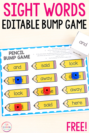 A free printable sight word bump game for back to school season.