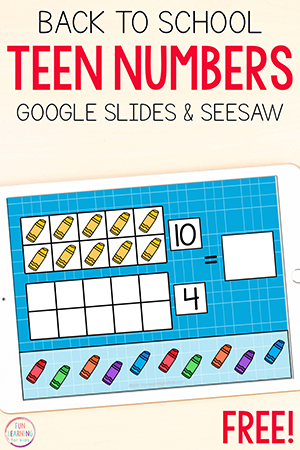 Back to school teen numbers math activity for Google Slides and Seesaw.