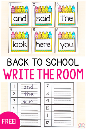 Editable back to school write the room activity for literacy centers.