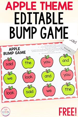 Editable bump game with a fall apple theme.