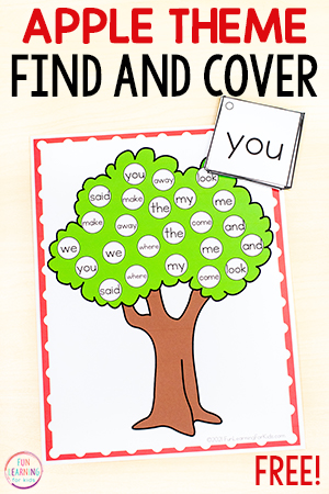 Apple theme find and cover sight word game.