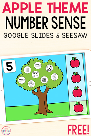 Apple theme number identification and counting activity for learning number sense.