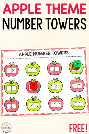 Apple theme number sense math activity.