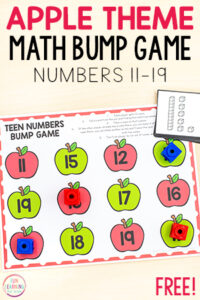 Apple number sense teen numbers game for kindergarten and first grade.