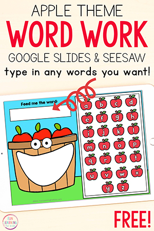 Apple theme word work activity for fall literacy centers at back to school time.