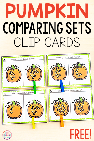 Pumpkin theme comparing numbers math activity for kids.
