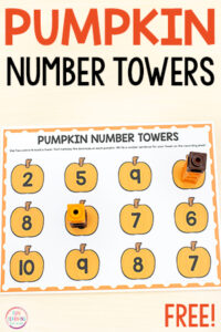 Free printable pumpkin number towers math activity.