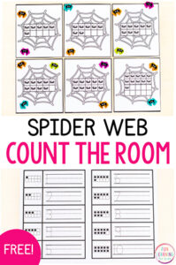 A fun spider count the room counting activity.